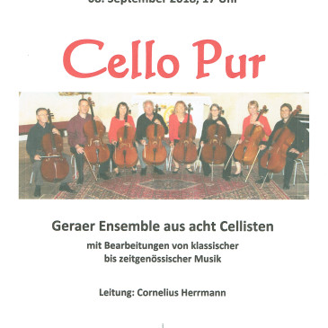 Konzert Cello pur – 8. Sept. – 17 Uhr