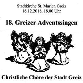 18. Greizer Adventssingen 16.12. 18 Uhr